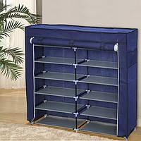 Тканинний взуттєвий шафа органайзер «T2712 blue» на 12 полиць, фото 1