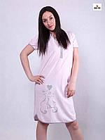 1fd76e9041be70f Трикотажная ночная рубашка женская розовая для кормящих мам р. 44-56