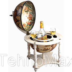 Глобус бар настольный BST 480075 42×42×57 см слоновая кость