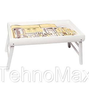 """Столик в кровать BST PW04 белый 52х32см. """"Белый Джаз"""""""