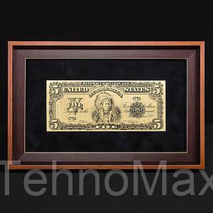 Банкнота подарочная в рамке 5$ BST 420003 36х23х2 см.