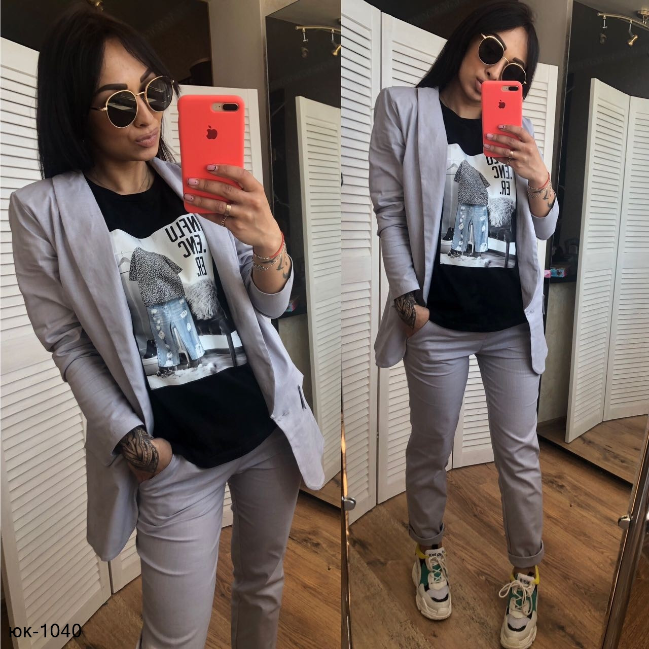 26f097ed8424 Женский стильный брючный костюм с брюками и пиджаком из льна -  Интернет-магазин MonoStar в