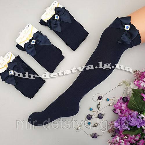 Синие гольфы для девочки с бантиком ТМ Pier Lone р.9-10 (134-140)
