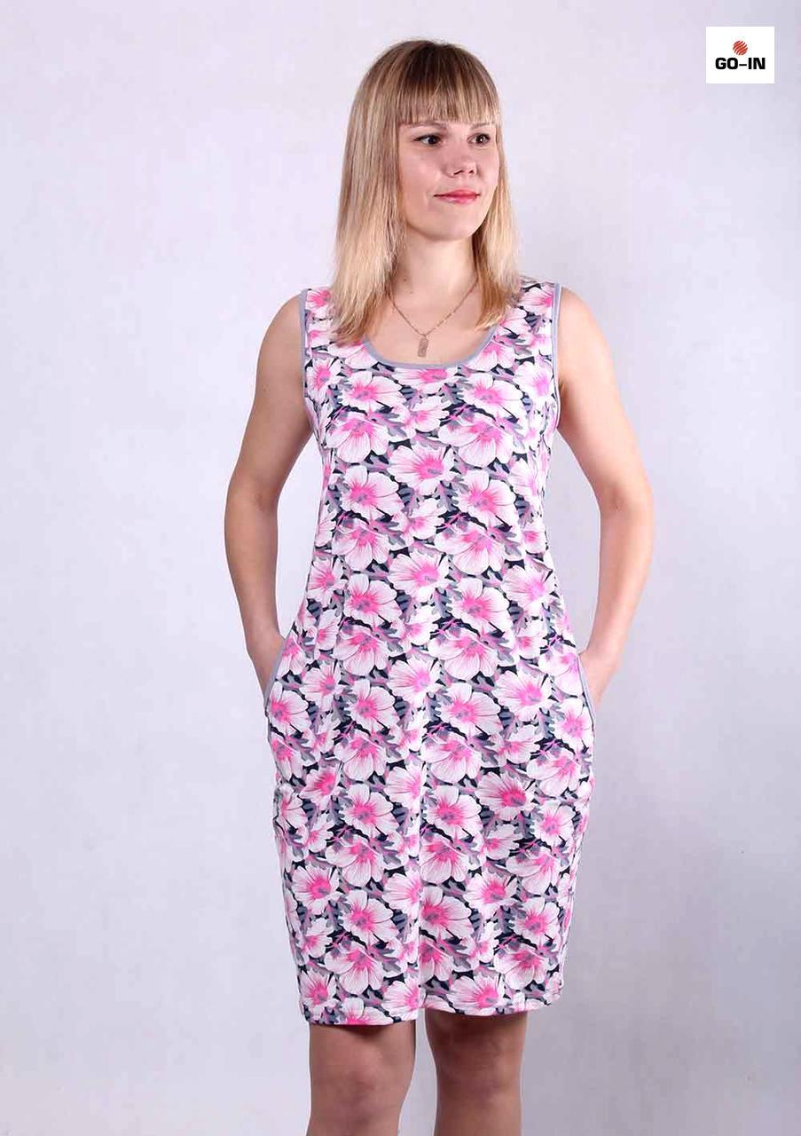 Сарафан летний женский красивый с цветами 44-54р.