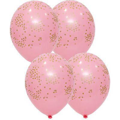 """Латексные шары круглые с рисунком шелкография пастель 14"""" 36см """"Конфетти"""" розовый """"BELBAL"""" Belgium, фото 2"""