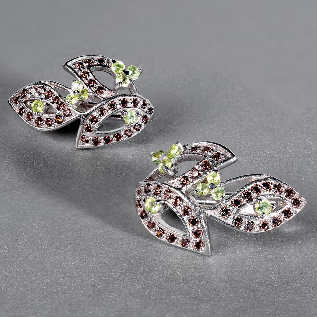 Хризоліт, срібло 925, сережки, 390СХ