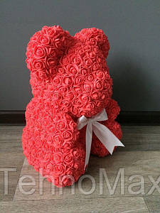 Мишка из роз 40 см коралловый (белый бант) 830082