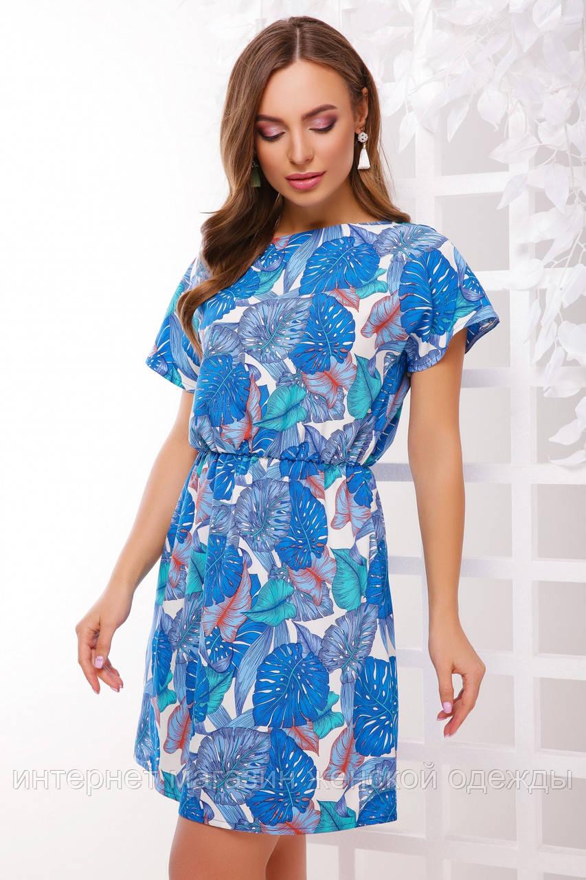 Платье 1738 голубая монстера