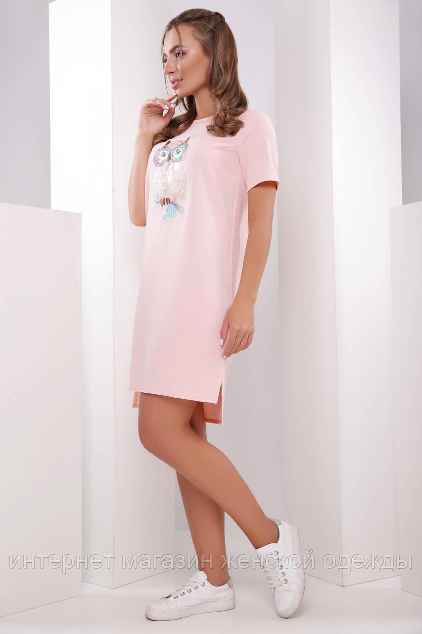 Платье-туника 1779 персик сова