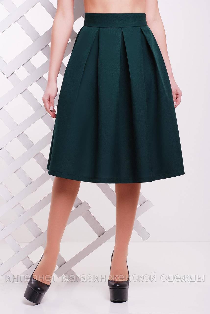 Женская юбка миди с широким складками и завышенной талией темно-зеленого цвета 50 размер