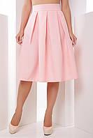Женская юбка миди с широким складками и завышенной талией персикового цвета
