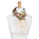 Чувство прекрасного 1767-0, павлопосадский шарф шерстяной  с шелковой бахромой, фото 2