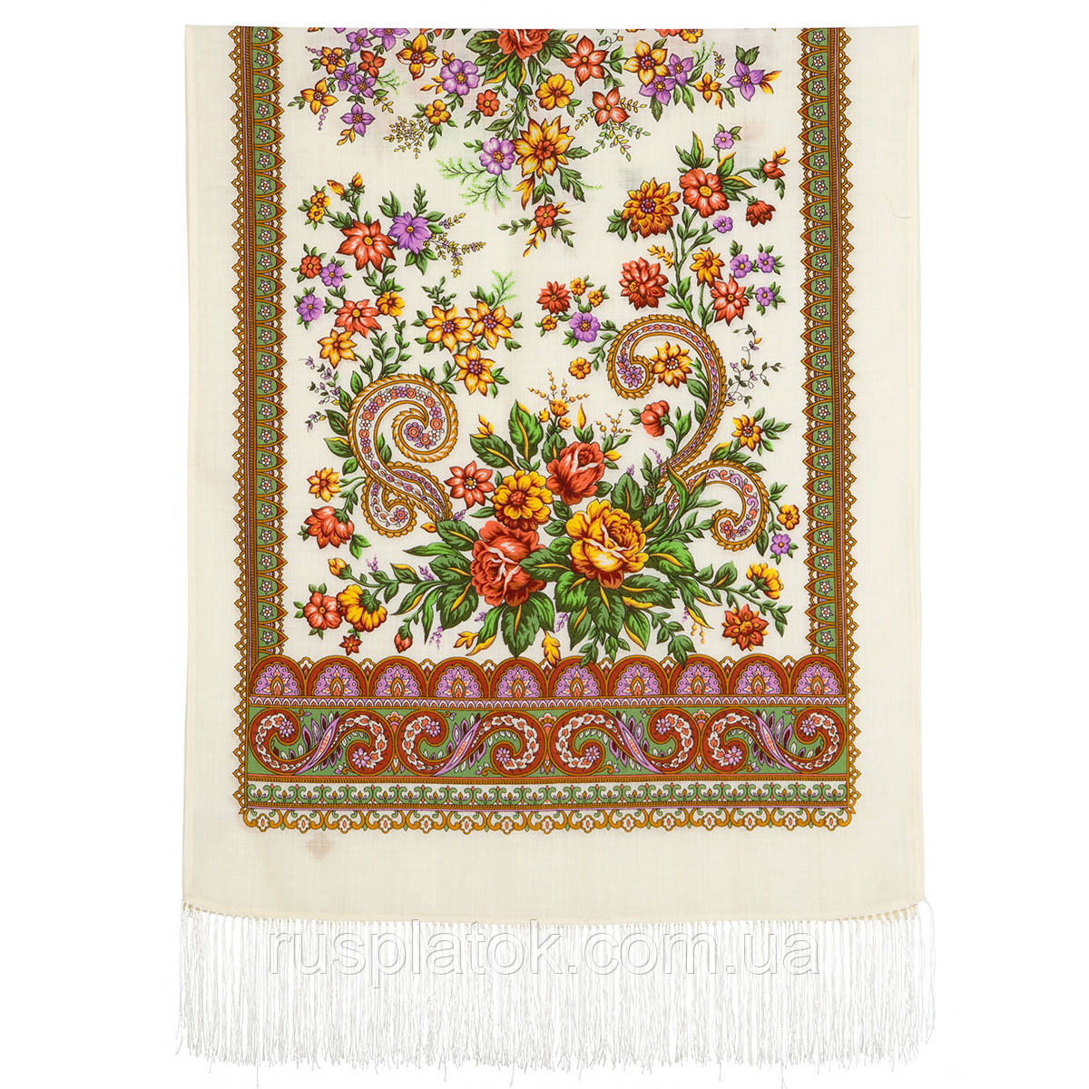 Чувство прекрасного 1767-0, павлопосадский шарф шерстяной  с шелковой бахромой