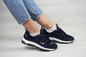 Кроссовки найк аир макс 98 темно-синие демисезонные (реплика) Nike Air Max 98 Dark Blue