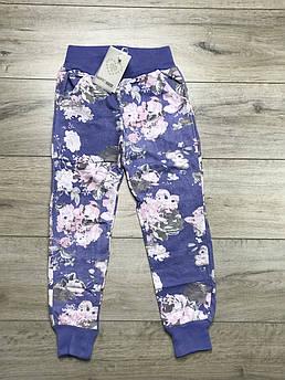 Штаны спортивные для девочки Цветы на голубом Размер 14, 16 лет