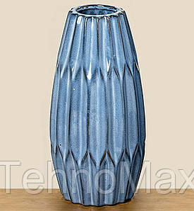Ваза настольная для цветов синяя керамика 480252