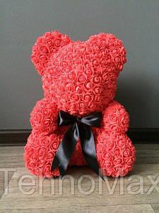 Мишка из роз 40 см коралловый (черный бант) 830083