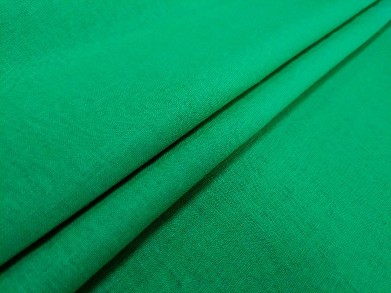 Лен однотонный, зеленый