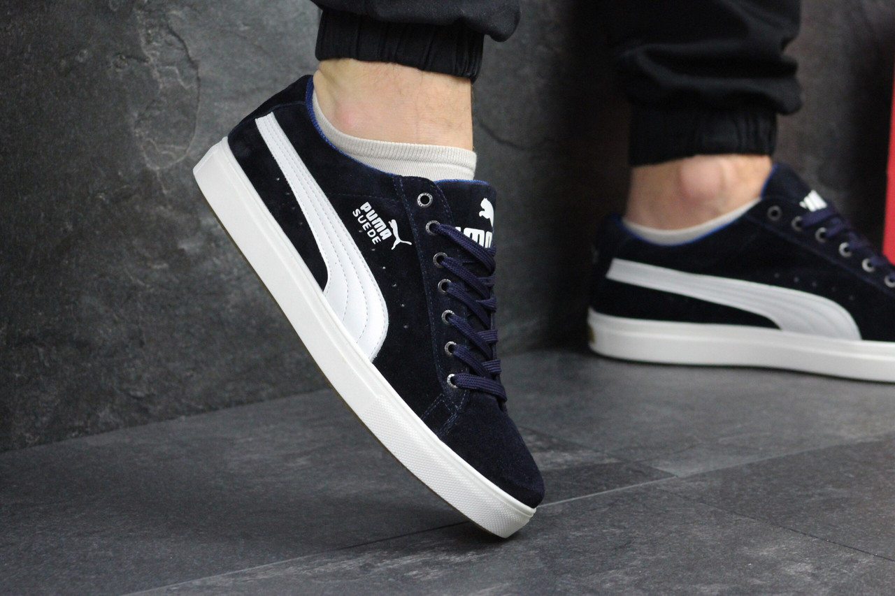 c76f1ea5 Мужские кроссовки Puma 7637 темно синий цвет замш купить дёшево - Интернет-магазин