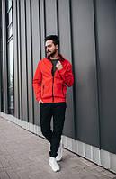 Мужская стильная куртка -  ветровка красного цвета.