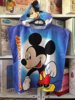 Детское пляжное полотенце пончо 60*120 см, Микки Маус