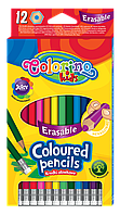 Карандаши цветные стираемые 12 цветов, Colorino