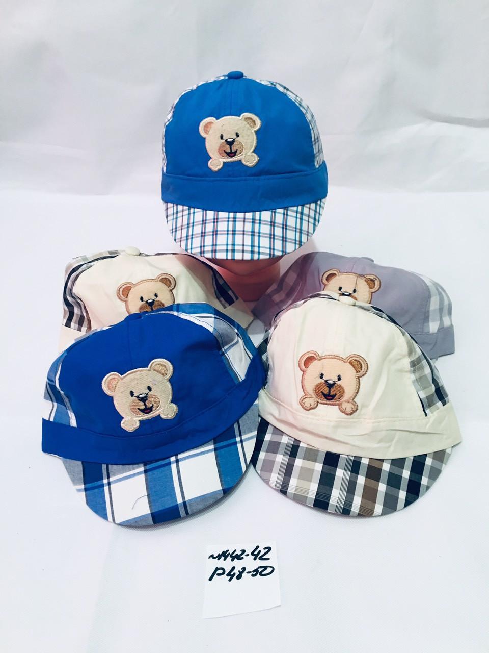 Летняя кепка для мальчика в клетку Медвежёнок р.48-50