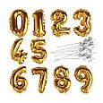 Фольгована цифра 6 золото, куля - топпер в торт, фото 5