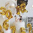 Фольгована цифра 6 золото, куля - топпер в торт, фото 8