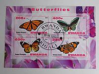 """Руанда Блок """"Бабочки"""" 2013 г."""
