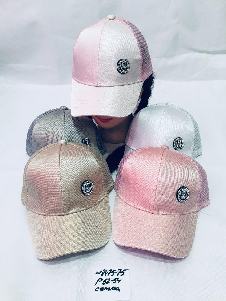 Річна кепка для дівчинки з вушками Смайл р. 52-54 Сітка