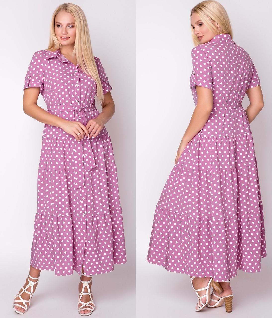 2af398b291c Длинное платье женское в горошек больших размеров (батальное ...