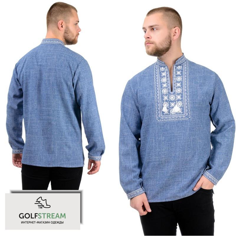 Мужская сорочка-вышиванка Орнамент (джинс)