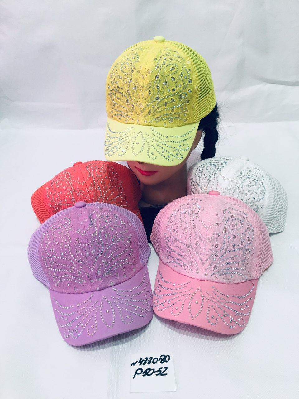 Летняя кепка для девочки с ушками в стразах р.50-52