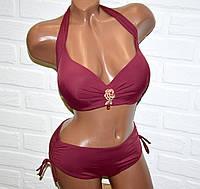 Женский купальник большой 54 размер (4XL) темно-бордовый с брошью с камнями раздельный на завязках