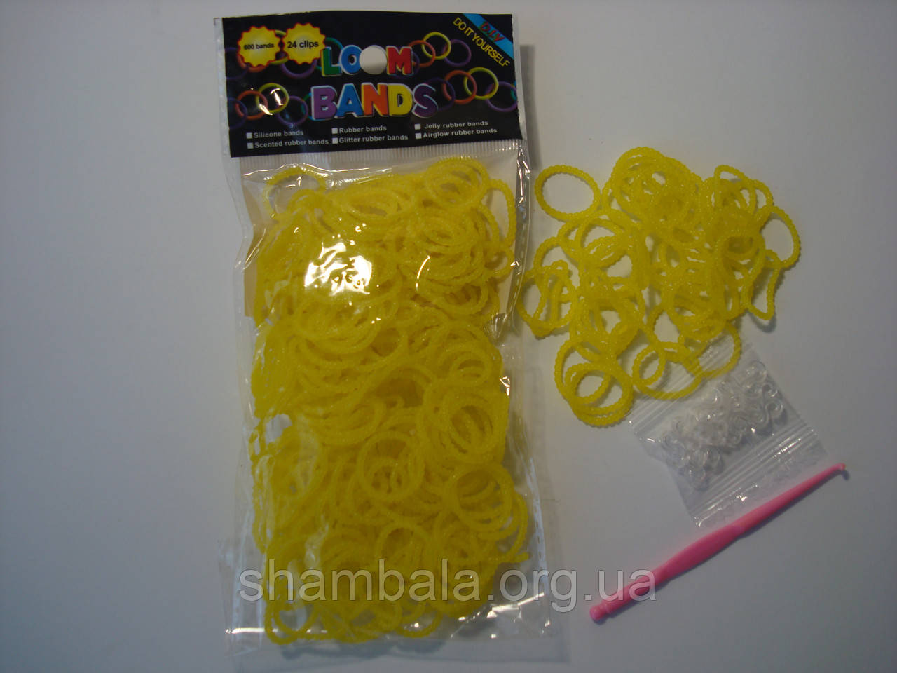 600 штук ярко желтых пупырчатых резиночек для плетения Loom Bands