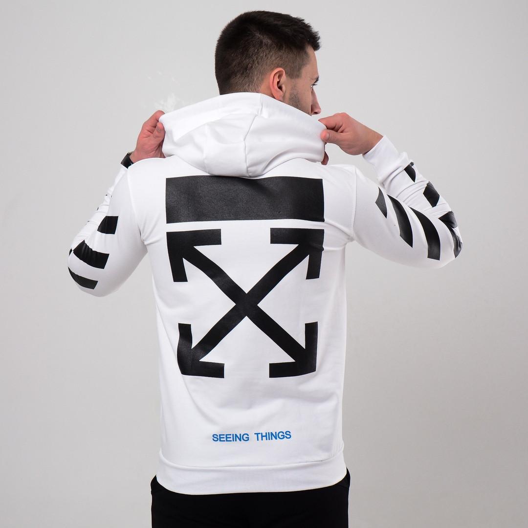 5b364dfc Мужская толстовка худи Off-White белая, крест (реплика) - Интернет-магазин