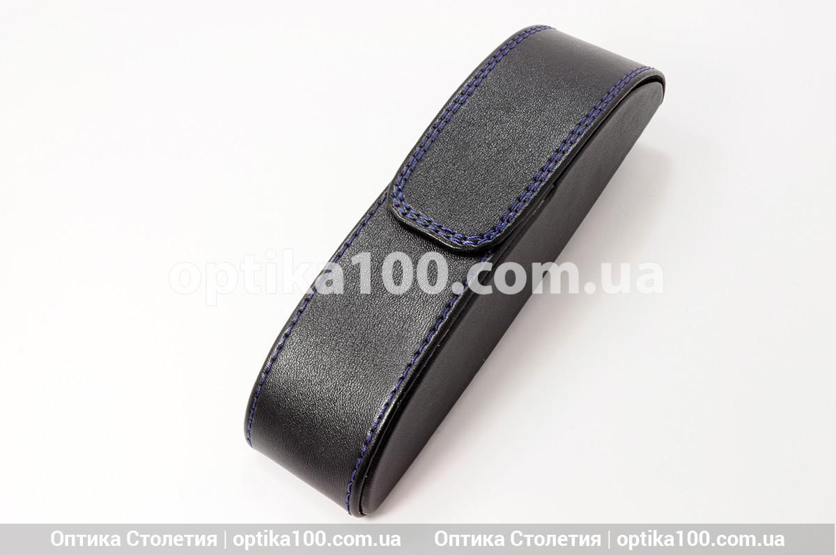 Чёрный вертикальный футляр для очков на магните со строчкой