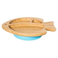 Секционная тарелка из бамбука на присоске, ложка и вилка Бабака, Голубой - 146014
