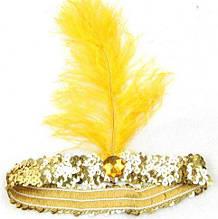 Повязка на голову с пером желтая