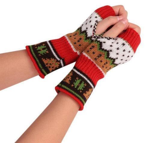 Перчатки митенки женские теплые с узором