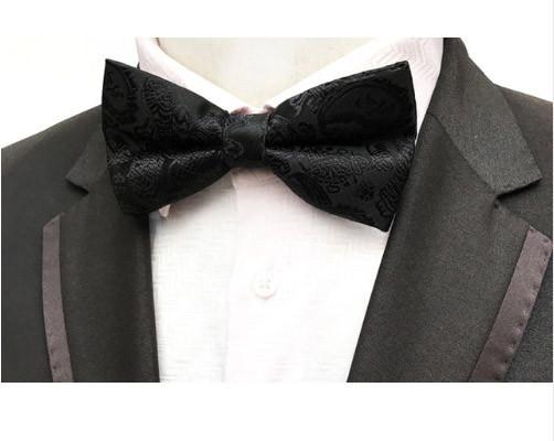 Краватка метелик класична чорна з візерунком