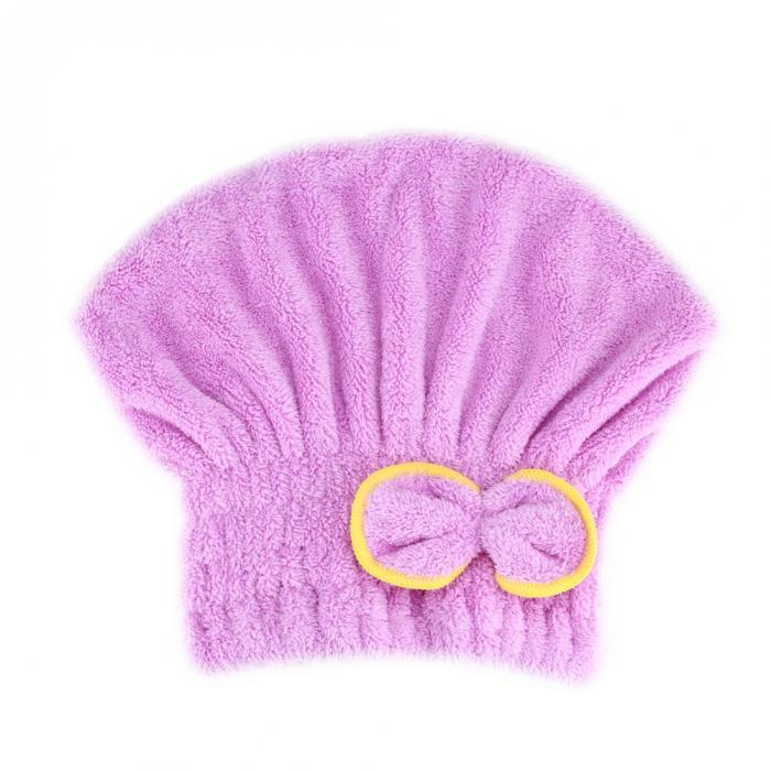 Шапка полотенце для сушки волос фиолетовое