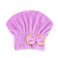 Шапка полотенце для сушки волос фиолетовое, фото 1