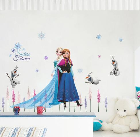 Наклейка Холодное сердце Эльза и Анна для детского интерьера