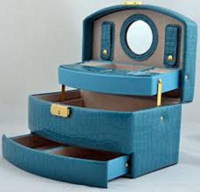 Шкатулка для украшений,ювелирных изделий,бижутерии №8965 (голубая)