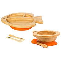 Набор детской бамбуковой посуды 2 в 1 на присоске Бабака, Оранжевый - 146023