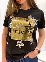 Футболка женская стильная с красивой надписью и листьями Svv87, фото 1