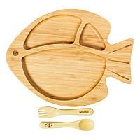 Секционная тарелка из бамбука на присоске, ложка и вилка Бабака, Жёлтый - 146019