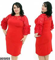 Платье нарядное большого размера с гипюром 50,52,54,56, фото 1